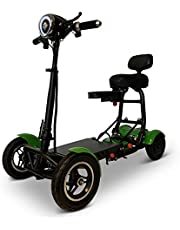 Foldable Lightweight Li-on Battery Power Mobility Scooters Easy Travel Electric Wheelchair Multi Terrain Scooter for Adults with Child Seat (Green)