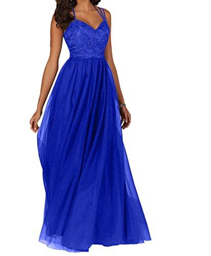 Abschlussballkleider Spitze Damen Lang Promkleider Blau Royal Herzausschnitt Charmant Ballkleider Abendkleider aIq1Tn