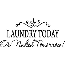 Picniva LAUNDRY TODAY or NAKED TOMORROW Removable Wall Stickers Home Decals Decor Quote Art Vinyl Bedroom