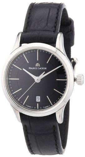 Maurice Lacroix Les Classiques Date Black Dial Black Leather Ladies Quartz Watch - Maurice Ladies Lacroix