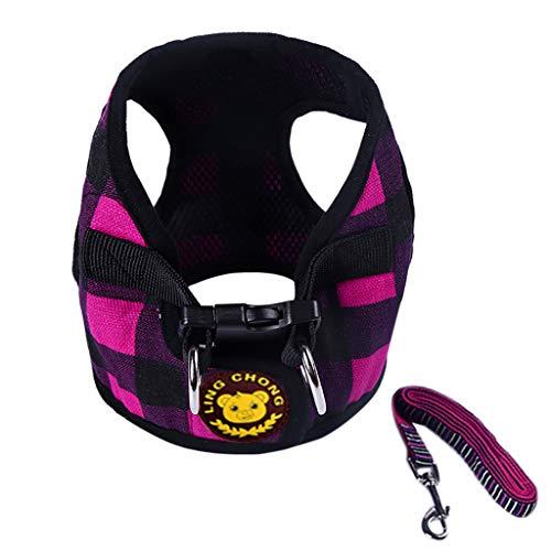 Pet Cat Dog Harness,Adjustable Walking Harness Plaid Printing Breathable Vest Comfort Leash Chest Straps Belt (Black, XL)