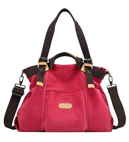 Shoulder Bag Travel Mom Casual Student Comfortable Canvas Ladies Red Handbag Large Bag Lightweight Fashion Capacity Backpack FLHT Handbag Messenger wzpCOHqHv