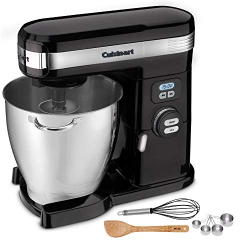 Cuisinart SM-70BK 7-Quart Stand Mixer (Black) with Whisk, Measuring Cups and Spatula Bundle (Renewed) (4 Items) (Cuisinart Stand Mixer Paddle)