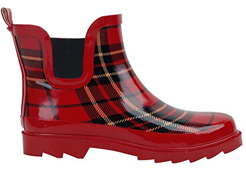 Bs Stivali Da Pioggia Donna Breve Caviglia In Gomma Da Giardino Moda Scarpe Da Neve Più Stili Di Colore Rosso Plaid