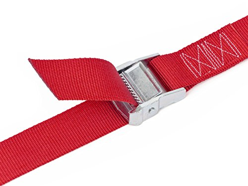 1½'' x 4ft PowerTye Made in USA Heavy-Duty Lashing Strap with Heavy-Duty Buckle, Red, 2-Pack by Powertye (Image #2)