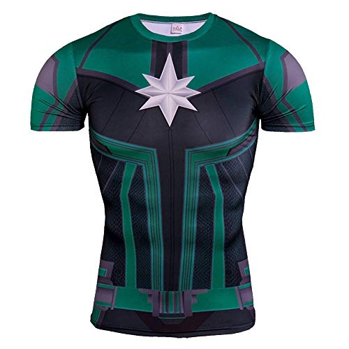 Short Sleeve Quick Dry Captain Marvel Compression Workouts Shirt Green 4XL]()