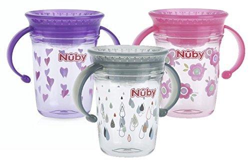 Thirsty Kids corazones morados 12 m sin BPA Mini taza sin derrames 360/° de Nuby 4