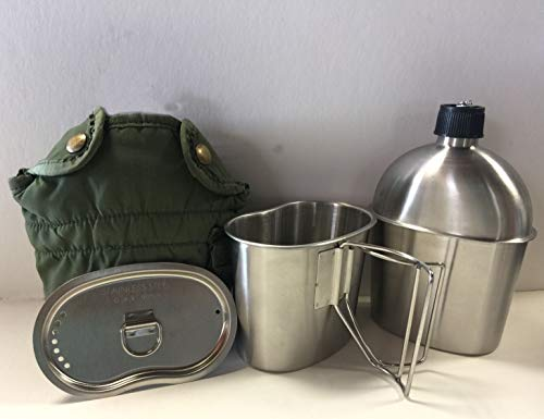 G.A.K New.G.I. Style Stainless Steel 1qt. Canteen with Butterfly Handle Cup and Vented LID. and Used Genuine Surplus G.I. Issue Olive Drab Nylon Canteen Cover.