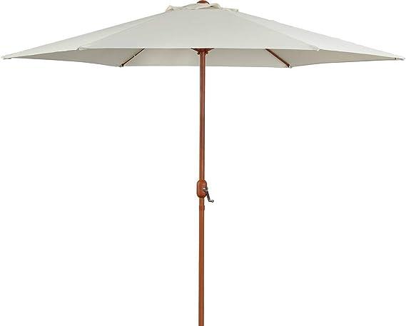 Parasol de jardín Derecho Acabado de Madera - Luz - Redondo - Ø 3m - Crudo: Amazon.es: Jardín