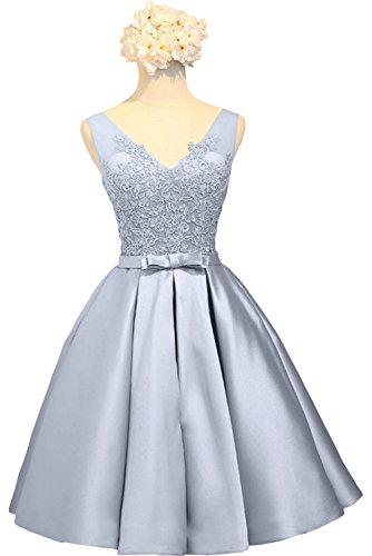 La Rosa Knielang Braut Kurzes Cocktailkleider Ballkleider Silber Brautjungfernkleider Damen Abendkleider Spitze mia awq6ra