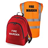 Workplace Fire Warden Backpack Kit - Printed Red Documents & Equipment Rucksack Bag with Hi Visibility Printed Vest