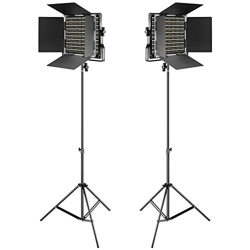 Neewer 2 Pieces Bi-color 660 LED Video Light and Stand Kit Includes:(2)3200-5600K CRI 96+ Dimmable Light with U Bracket and Barndoor and (2)75 inches Light Stand for Studio Photography