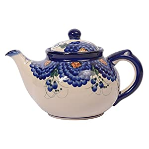 Traditional Polish Pottery, Handcrafted Ceramic 7-Cup Teapot with Lid (1350ml), H.101.Arts