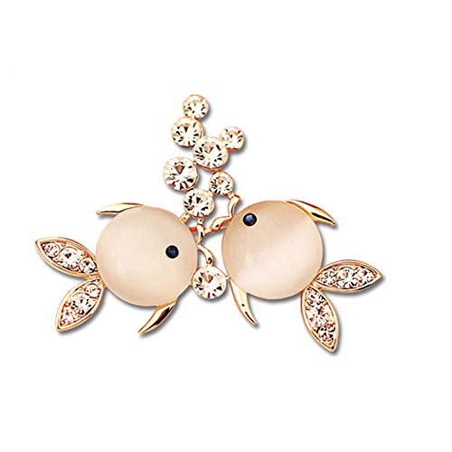 Tcplyn Double Fish Rhinestone Crystal Brooch Pin Ocean Animal Lapel Pin Brooch Durable and Useful