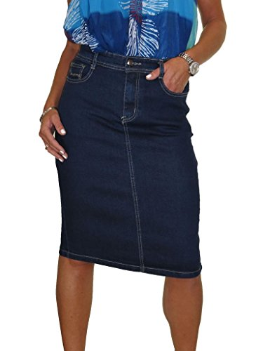 icecoolfashion Ice Stretch Denim Jeans Skirt Stitch Detail Indigo Dark Blue 8-20 (Next Denim Skirt)