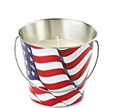 Jay Trends Patriotic American Flag Citronella Candle Pail, Metal and Wax, Attached Handle, 20oz Net Weight