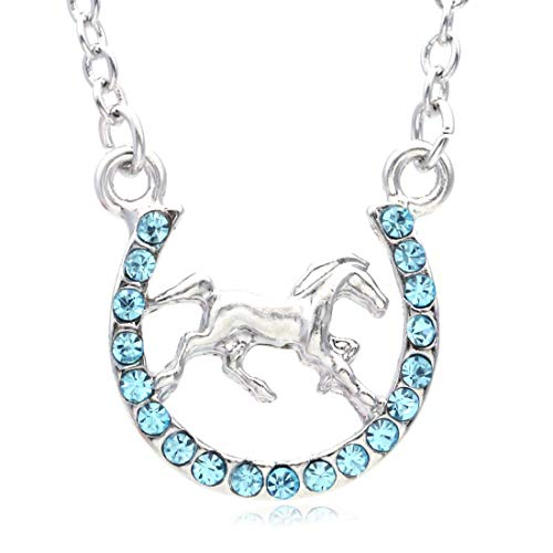 Horseshoe Girls (Soulbreezecollection Horse Mustang Pony Horseshoe Necklace Pendant Lucky Charm Western Cowboy Cowgirl (Aqua Blue))