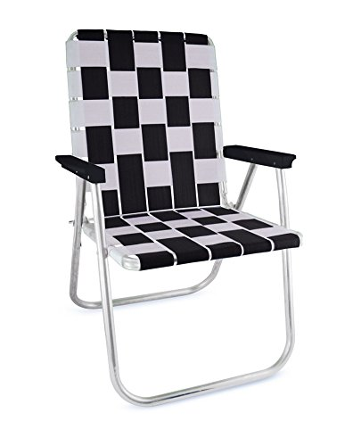 Lawn Chair USA Folding Aluminum Webbing Chair (Tailgating, Black//White) (Usa Chairs Made Lawn In)