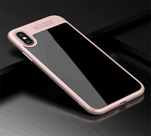 save off cd957 3e53e Auto Focus iPhone X case iPhone 10 TPU+PC silicone hard clear back (Pink)