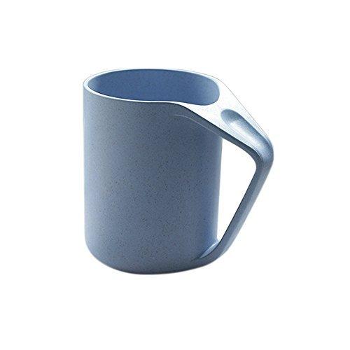 Retro Blue Dinnerware - UPSTYLE Retro Eco-friendly Wheat Straw Lightweight Cup Biodegradable Mug Plastic Tumbler for Water, Coffee, Milk,Tea Size 13.5 oz (Blue)