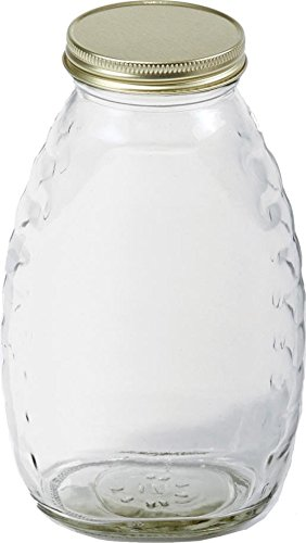 LITTLE GIANT GLASS HONEY JAR WITH LIDS - 16 OUNCE/12 PAK