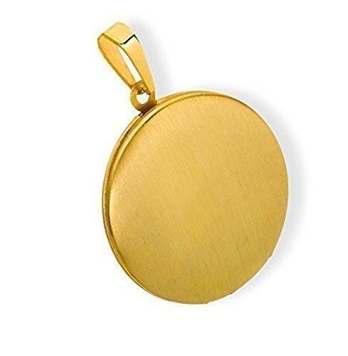 Medaillon rund mattiert Edelstahl für 2 Fotos Anhänger Amulett-PVD Gold HausderHerzen ei-616014