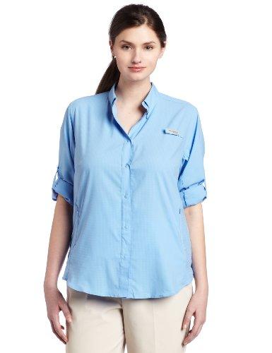 Columbia Women's PFG Tamiami II Long Sleeve Shirt , White Cap, 1X