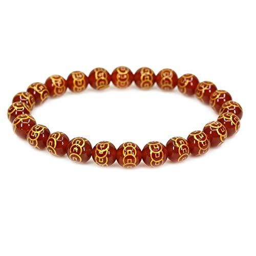 Amandastone Natural Copper Coins Red Agate 8mm Round Beads Stretch Bracelet 7