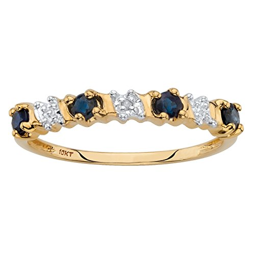 Sapphire Accent Ring (Solid 10k Yellow Gold Round Genuine Blue Sapphire and Diamond Accent Ring Size 7)