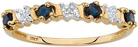 Solid 10k Yellow Gold Round Genuine Blue Sapphire and Diamond Accent Ring