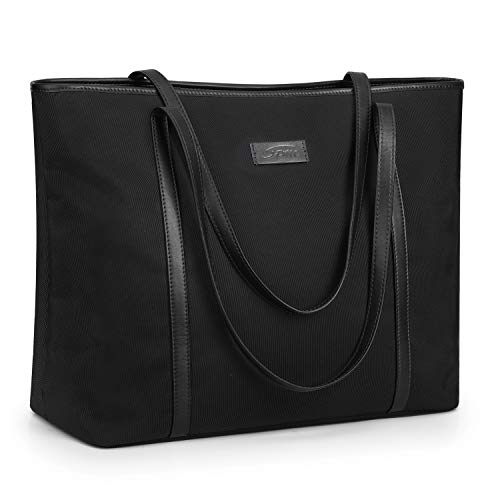 (S-ZONE 15.6 inch Large Laptop Tote Bag for Women Water Resistant Nylon Work Shoulder Purse with Padded Compartment (Black))