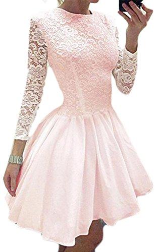 Womens Pizzo Girocollo Cruiize Vestito Dall'oscillazione Casuale Manica Lunga Increspato Rosa Colore SBpFntqF