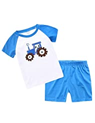 Captain Meow Boys' Short Sleeve Clothing Set T-shirt And Short Pants Tractor