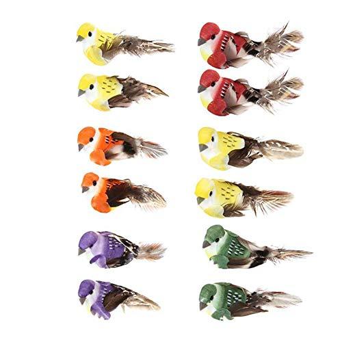 Artificial Ornaments (lwingflyer Artificial Simulation Foam Feather Bird, Mini Sparrow Ornaments DIY Craft for Wedding Decoration Party Accessories 9cm/3.54inch (12pcs))