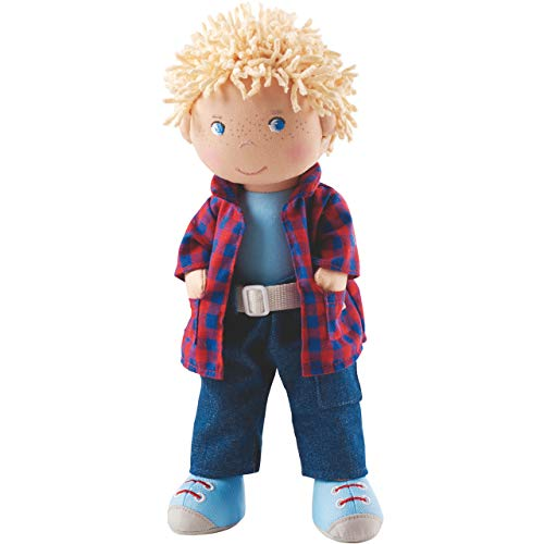 "HABA Nick 12"" Soft Boy Doll with Blonde Hair, Blue Eyes and Embroidered Face for Ages 18 Months and Up"