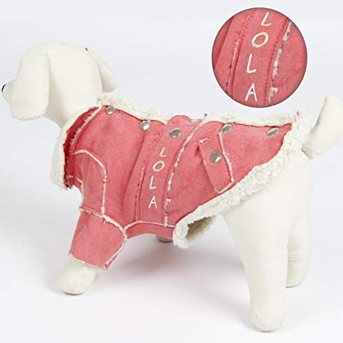 DIBSIES Personalization Station Personalized Trendy Dog Coat with Faux Fur Lining - Pink (Medium)