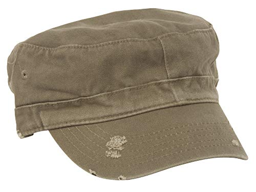 Distressed Washed Cotton Cadet Army Cap Olive One Size -