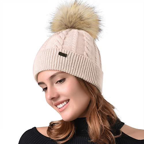 54fc8a5e5a0 FURTALK Women Winter Pom Knit Hat Cashmere Beanie Caps with Faux Fur Pom  Pom for Girls