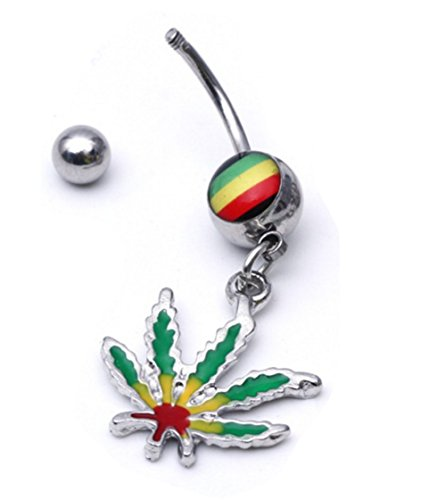 weed belly button rings - 9