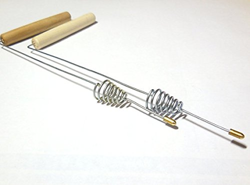 Set of 2 dowsing divining L rods 23 cm ( 9 in ) wood handles spirit hunting water location lost objects aura