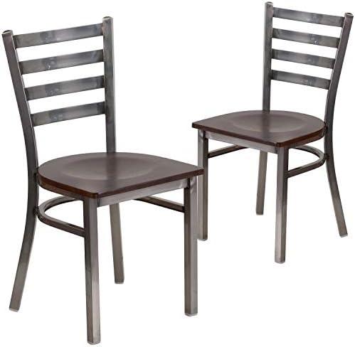 Flash Furniture 2 Pack HERCULES Series Clear Coated Ladder Back Metal Restaurant Chair