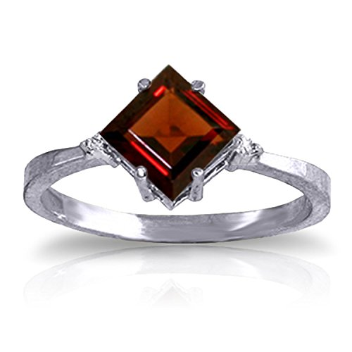 1.77 Carat 14k Solid White Gold Petite Ring with Natural Square-shaped Garnet and Diamond Accent - Size 6.5 - 14k Garnet Ring Natural Gold