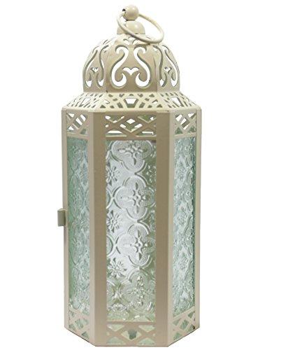 Vela Lanterns Mid-Size Table/Hanging Glass Hexagon Moroccan Candle Lantern Holders - Cream (Lanterns For Wedding Centerpieces)