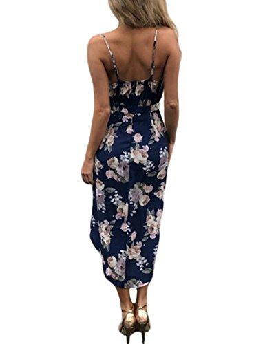 con en de Azul Estampado Vestido Lrud Negro 3 Mujeres Blanco Playa Bohemio Floral Color Shoulder Marino Off wvqYI4