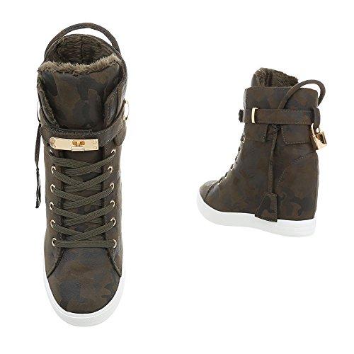 Damen Schuhe Freizeitschuhe Keil Wedges Sneakers Khaki