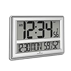 Marathon CL030056SV Jumbo Atomic Wall Clock with Date, Indoor Temperature and Humidity-Batteries Included. Color- Silver.
