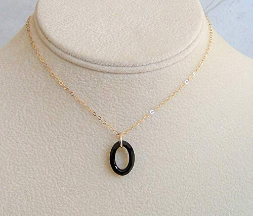 Jet Black Cosmic Oval Ring Pendant 16 Inch Gold Fill Necklace Made With Swarovski Crystal Gift Idea