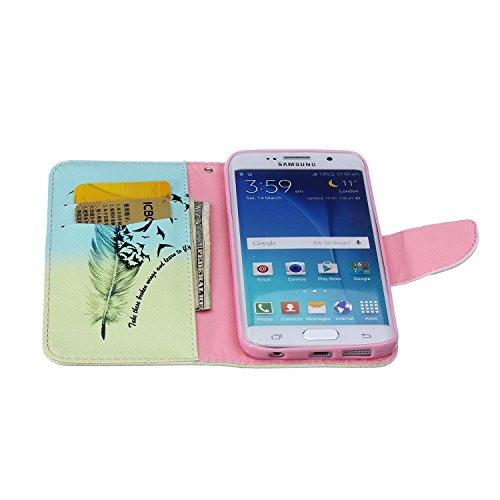 Funda Samsung S6 Edge, Samsung Galaxy S6 Edge Carcasa Funda Cuero [Pluma Libre] Samsung Galaxy S6 Edge Case Book Estilo Libro billetera con correa de cordón Magnético Folio Flip Caso pata de cabra tit Las plumas de aves