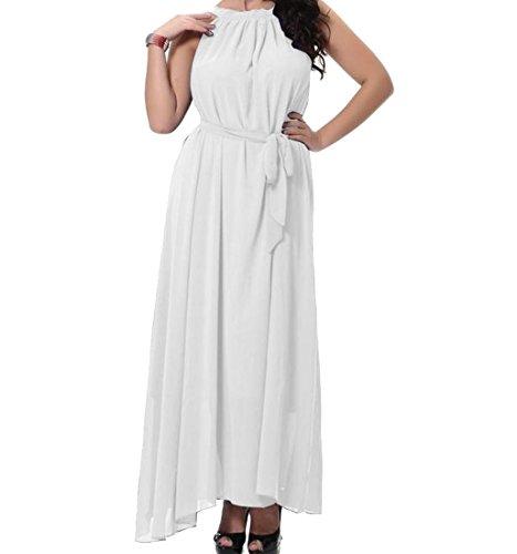 Yayu Women's Fairy Solid Plus Size Chiffon Maxi Beach Dress White 2XL (Plus Size Fairy Dress)