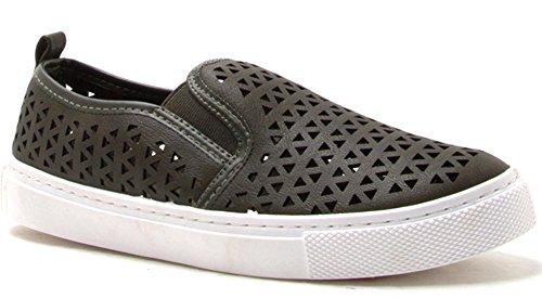 Qudrid Womens Lasercut Slip On Fashion Sneaker Kaki Pu